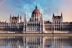 Budapest - Parliament.with reflection in Danube